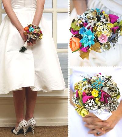 Свадебные букеты из винтажных украшений. A99da7